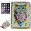 For iPad Air 2/iPad 6 Owl Pattern Leather Case with Holder, Card Slots & Wallet