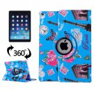 For iPad Air 2/iPad 6 Blue Eiffel Tower Pattern 360° Rotation Leather Case with 3 Gears Holder