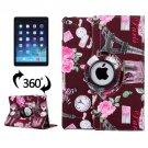 For iPad Air 2/iPad 6 Dark red Eiffel Tower Pattern 360° Rotation Leather Case with 3 Gears Holder