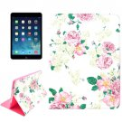 For iPad Air 2 / iPad 6 Rose Pattern Smart Cover Leather Case with Holder & Card Slots