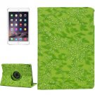 For iPad Air 2 Green 360° Rotation Grape Pattern Leather Case with 3 Gears Holder