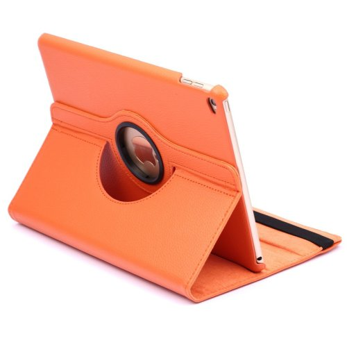 For iPad Air 2 Orange 360° Rotation Litchi Texture Flip Leather Case with 2 Gears Holder