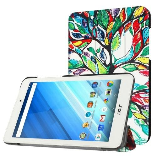 For Acer Iconia One 8 Colorful Tree Pattern Leather Case with 3 fold Holder