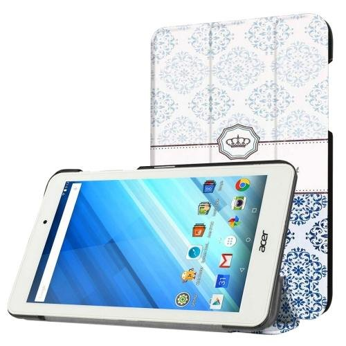 For Acer Iconia One 8 Crown Pattern Leather Case with 3 fold Holder
