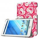 For Acer Iconia One 8 Heart Pattern Leather Case with 3 fold Holder