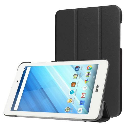 For Acer Iconia One 8 Black Custer Texture Leather Case with 3 fold Holder
