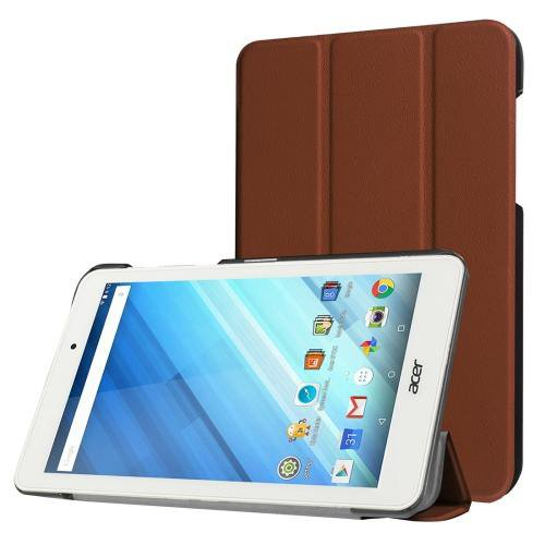 For Acer Iconia One 8 Coffee Custer Texture Leather Case with 3 fold Holder