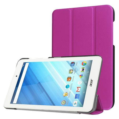 For Acer Iconia One 8 Purple Custer Texture Leather Case with 3 fold Holder