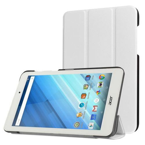For Acer Iconia One 8 White Custer Texture Leather Case with 3 fold Holder