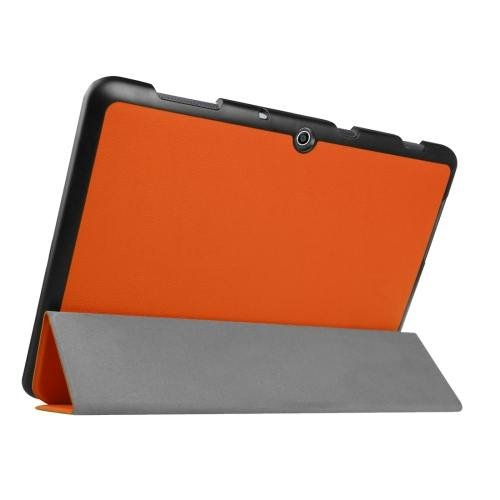 For Acer Iconia One 10 Orange Custer Texture Leather Case with 3 fold Holder