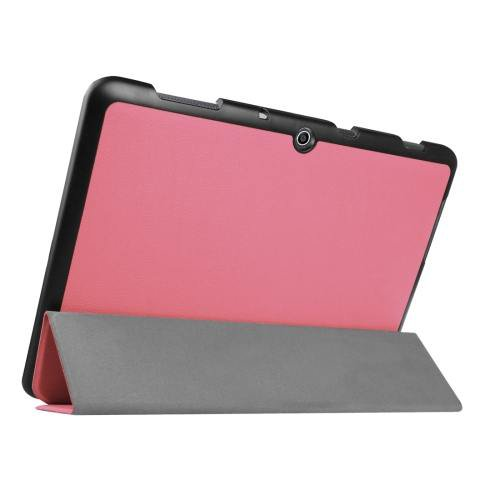 For Acer Iconia One 10 Pink Custer Texture Leather Case with 3 fold Holder