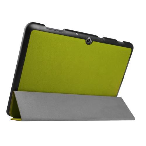 For Acer Iconia One 10 Green Custer Texture Leather Case with 3 fold Holder