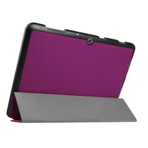 For Acer Iconia One 10 Purple Custer Texture Leather Case with 3 fold Holder