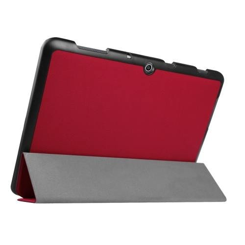 For Acer Iconia One 10 Red Custer Texture Leather Case with 3 fold Holder