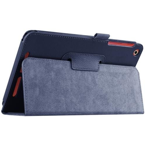 For Acer Iconia One 8 Dark Blue Litchi Solid Color Leather Case with Holder