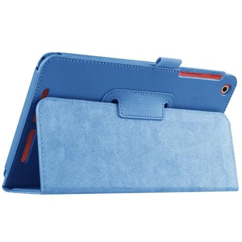 For Acer Iconia One 8 Blue Litchi Solid Color Leather Case with Holder