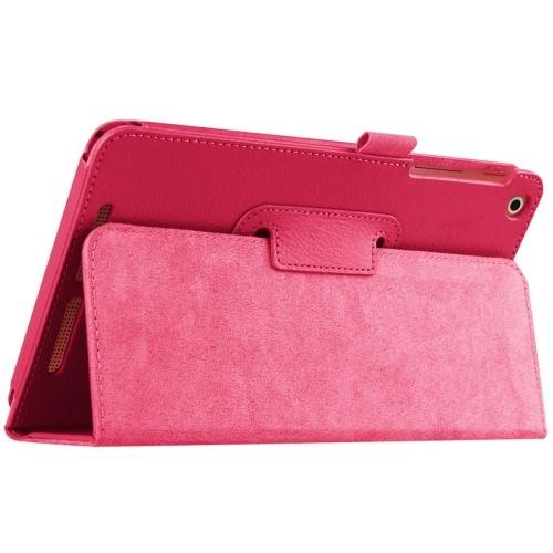 For Acer Iconia One 8 Magenta Litchi Solid Color Leather Case with Holder