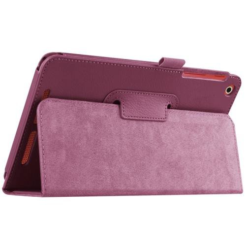 For Acer Iconia One 8 Purple Litchi Solid Color Leather Case with Holder