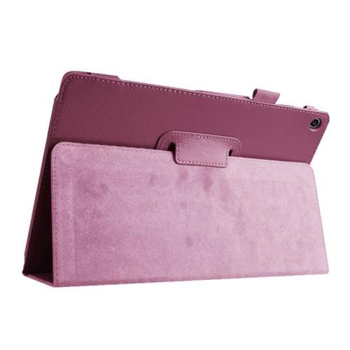 For ASUS Zenpad 10 Purple Litchi Texture Flip Leather Case with Holder