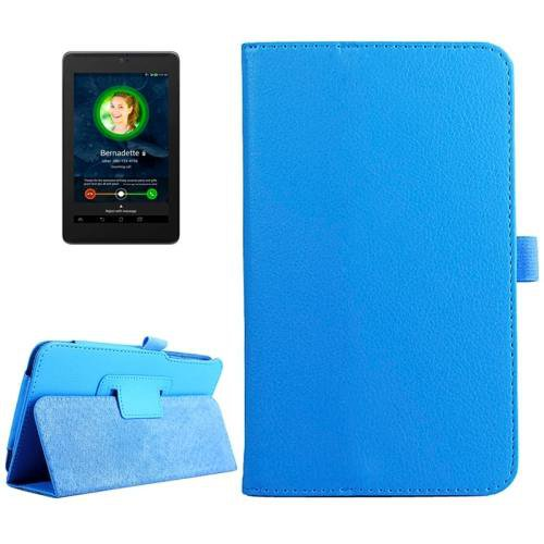 For ASUS Fonepad 7 Blue Litchi Texture Leather Case with Holder