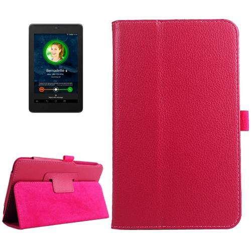 For ASUS Fonepad 7 Magenta Litchi Texture Leather Case with Holder