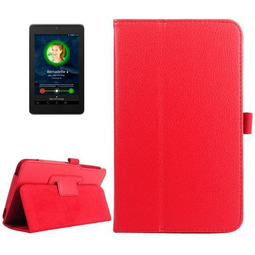 For ASUS Fonepad 7 Red Litchi Texture Leather Case with Holder