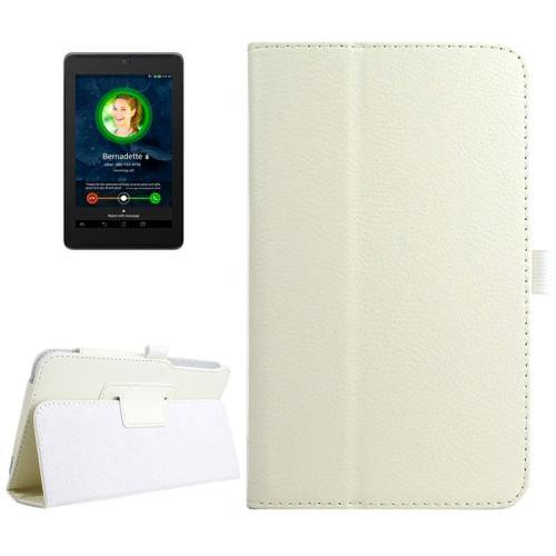 For ASUS Fonepad 7 White Litchi Texture Leather Case with Holder