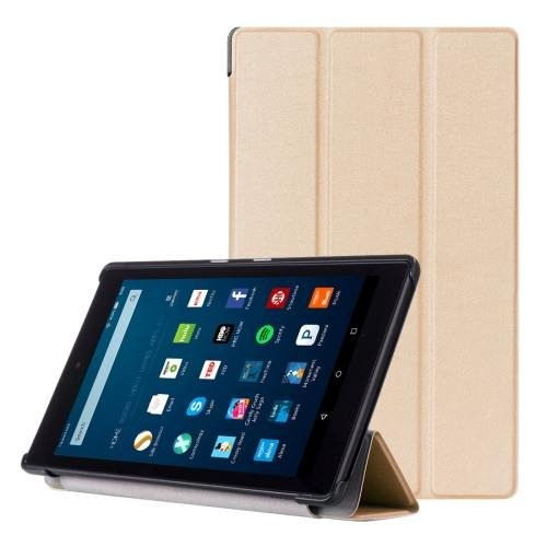 For Amazon Fire HD 8 Gold Custer Leather Case with 3 Fold Holder