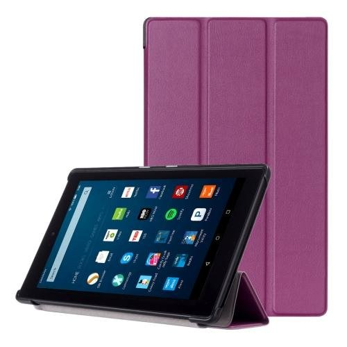 For Amazon Fire HD 8 Purple Custer Leather Case with 3 Fold Holder
