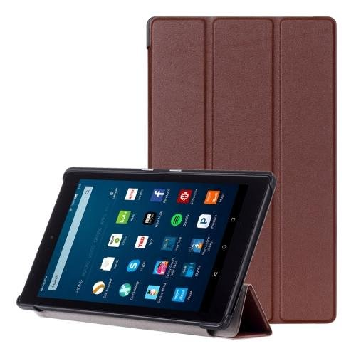 For Amazon Fire HD 8 Brown Custer Leather Case with 3 Fold Holder