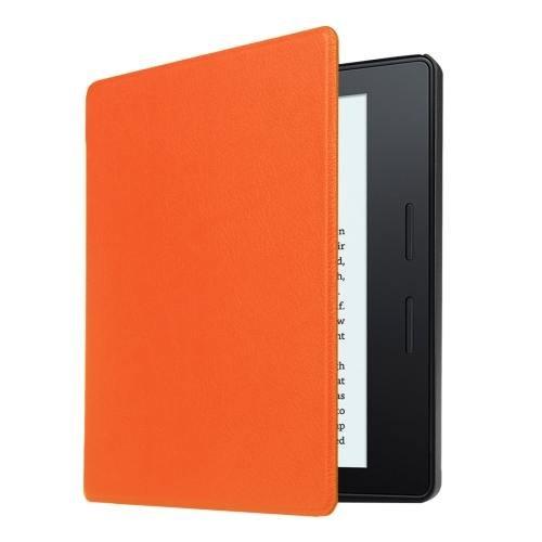 For Amazon Kindle Oasis Orange Custer Leather Case with 3 fold holder