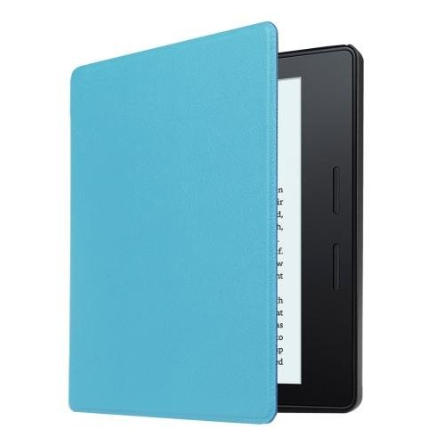 For Amazon Kindle Oasis Blue Custer Leather Case with 3 fold holder