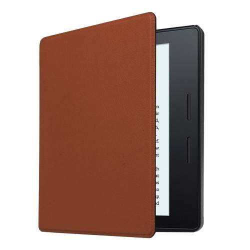 For Amazon Kindle Oasis Brown Custer Leather Case with 3 fold holder