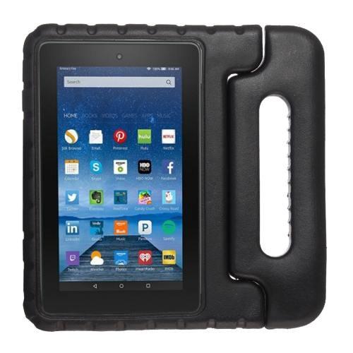 For Amazon MoKo Fire 7 Black EVA Bumper Case with Handle & Holder