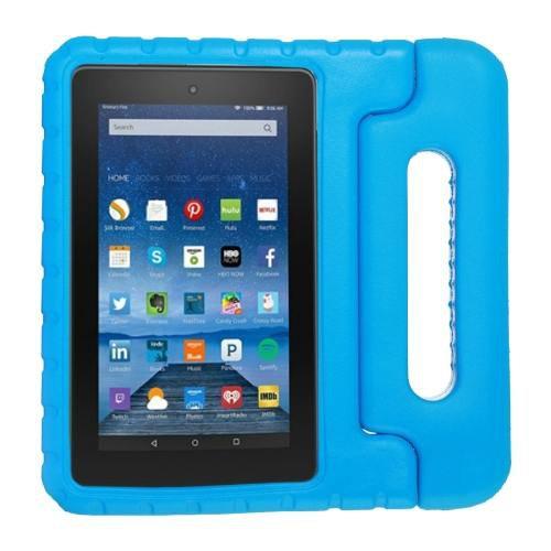 For Amazon MoKo Fire 7 Blue EVA Bumper Case with Handle & Holder