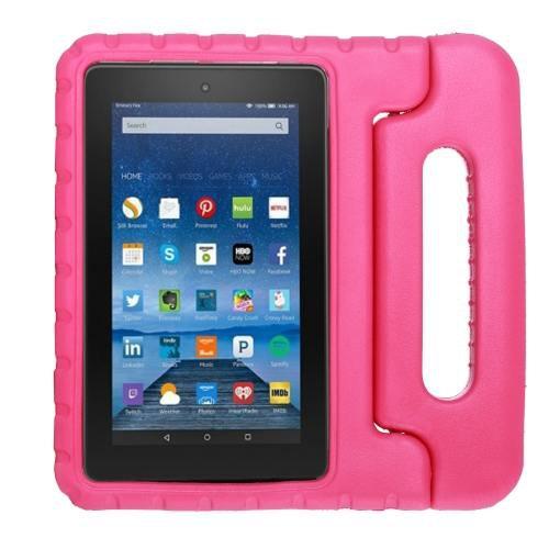For Amazon MoKo Fire 7 Magenta EVA Bumper Case with Handle & Holder