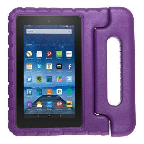 For Amazon MoKo Fire 7 Purple EVA Bumper Case with Handle & Holder
