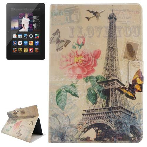 For Amazon Kindle Fire tower Patterns Leather Case with Holder & Card Slots