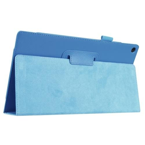 For Amazon Fire HD 10 Blue Litchi Flip Leather Case with Holder
