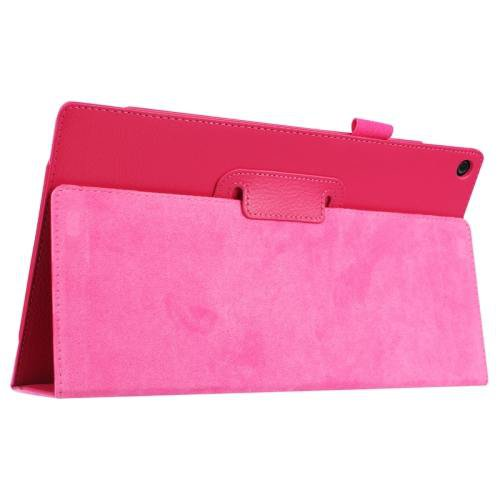 For Amazon Fire HD 10 Magenta Litchi Flip Leather Case with Holder