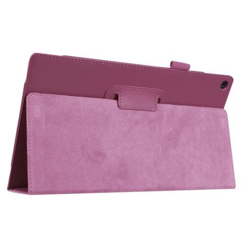 For Amazon Fire HD 10 Purple Litchi Flip Leather Case with Holder