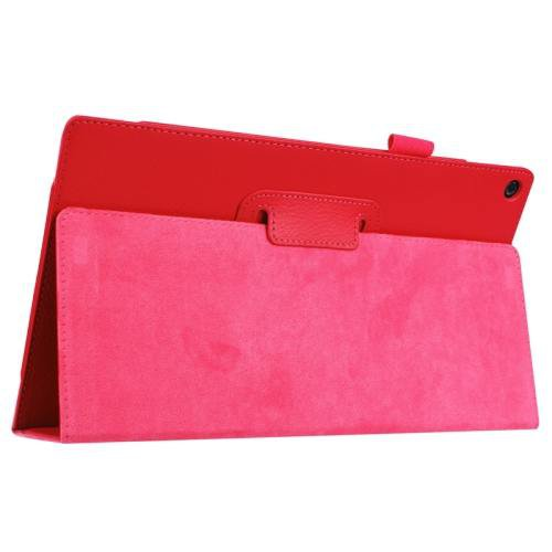 For Amazon Fire HD 10 Red Litchi Flip Leather Case with Holder