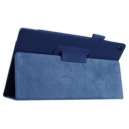 For Amazon Fire HD 8 Dark Blue Litchi Flip Leather Case with Holder