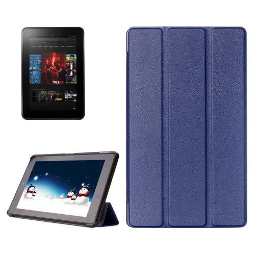 For Amazon Fire HD 10 Dark Blue Karst Flip Leather Case with 3 Fold Holder