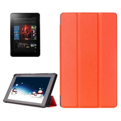 For Amazon Fire HD 10 Orange Karst Flip Leather Case with 3 Fold Holder