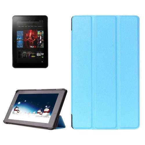 For Amazon Fire HD 10 Blue Karst Flip Leather Case with 3 Fold Holder