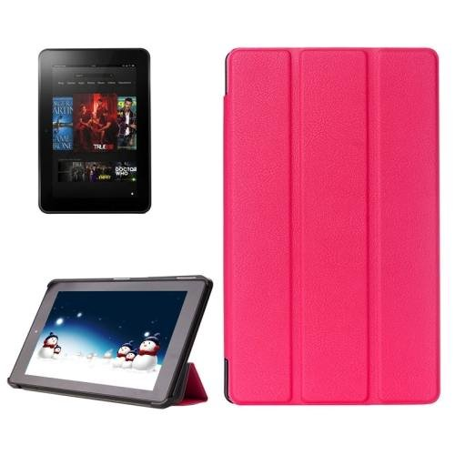 For Amazon Fire HD 10 Magenta Karst Flip Leather Case with 3 Fold Holder