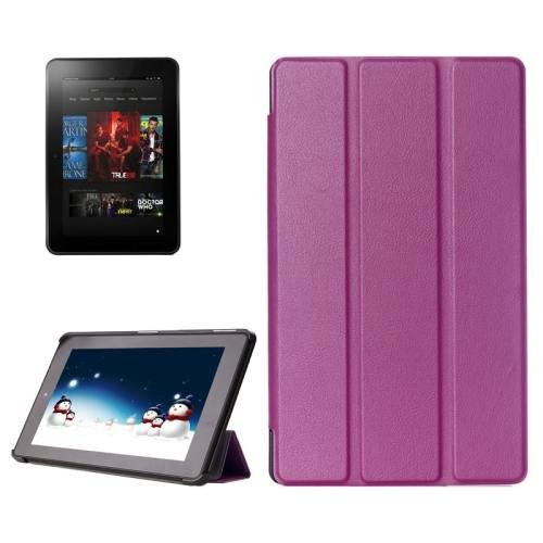 For Amazon Fire HD 10 Purple Karst Flip Leather Case with 3 Fold Holder