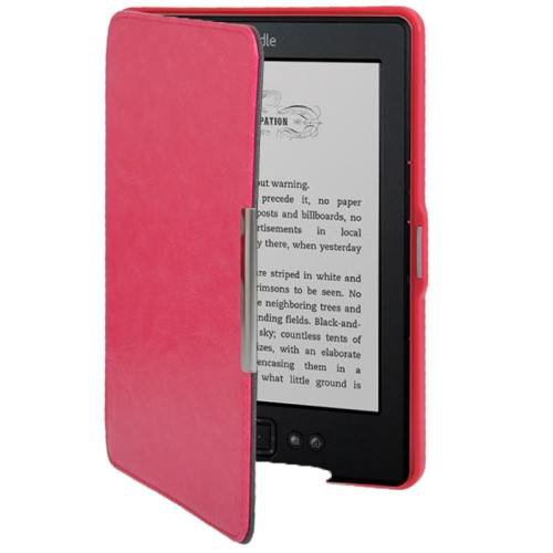 For Amazon Kindle 5 Magenta Crazy Horse Texture Leather Case