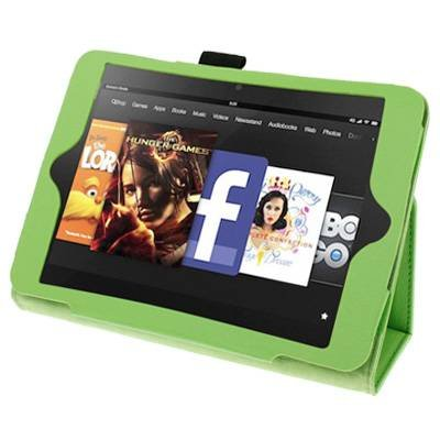 For Kindle Fire HD Light Green Litchi Texture Leather Case with Holder